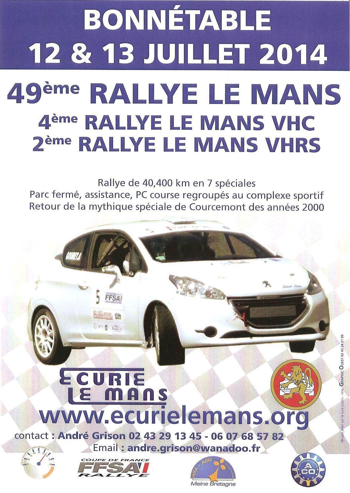 Affiche Rallye du Mans 2014