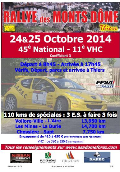 Rallye des Monts Dome 2014 Programme
